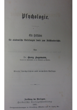 Psychologie, 1881 r.