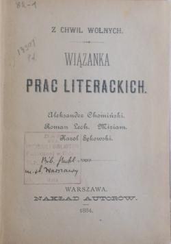 Wiązanka Prac Literackich, 1884 r