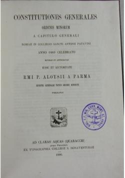 Constitutiones generales ordins minorum, 1890 r.