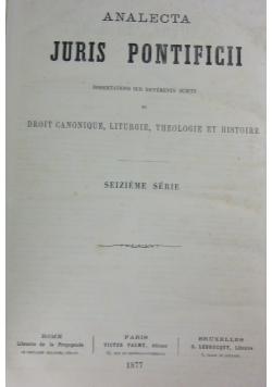 Analecta Juris Pontificii, 1877r.