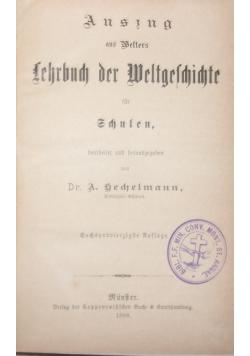 Auszug aus Welters Lehrbuch der Weltgeschichte fur Schulen, 1898 r.