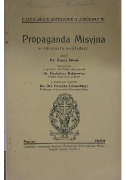 Propaganda misyjna, 1928/29 r.