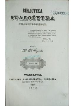 Biblioteka Starożytna pisarzy polskich, tom II,  1843 r.