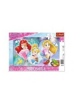 Puzzle ramkowe 15 Uśmiechnięte księżniczki TREFL