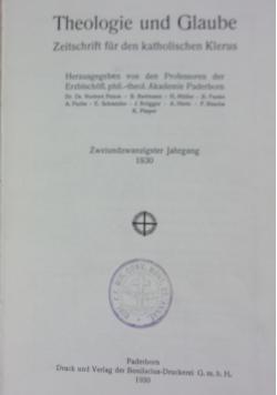 Theologie und Glaube Zeitschrift fur den katholischen Klerus 22 jahrgang, 1930 r.