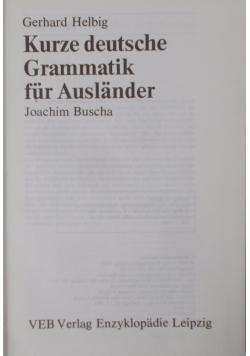 Kurze deutsche Grammatik fur Auslander