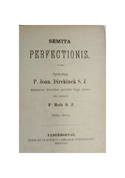 Semita Percectionis, 1890 r.