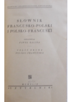 Słownik francusko polski i polsko francuski, 1949r