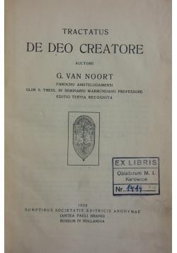 Tractatus De Deo Creatore, 1912 r.