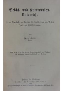 Beicht und Kommunion Unterricht, 1904r.