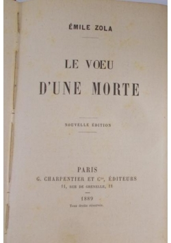 Le Voeu D'une Morte, 1889 r.