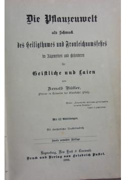 Die planzenwelt, 1886 r., 3 tomy w 1 książce