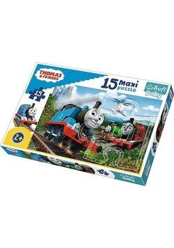 Puzzle 15 maxi Pędzące lokomotywy TREFL