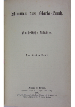 Stimmen aus Maria - Laach, 30 band, 1886 r.