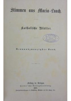 Stimmen aus Maria-Laach katholische Blätter, 1885 r.