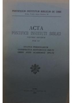 Acta pontificii instituti biblici