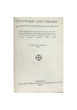 Theologie und Glaube Zeitschrift fur den katholischen Klerus, 1927 r.