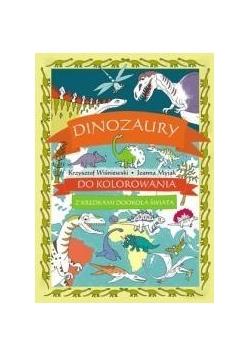 Dinozaury do kolorowania - z kredkami dookoła świa
