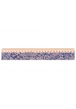 Linijka drewniana 25 cm kujawska niebieska FOLKSTA