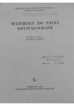 Materiały do nauki krystalografii