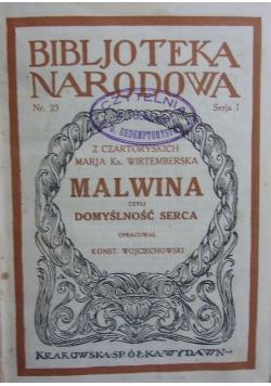 Malwina czyli domyślność serca, 1925 r.