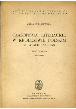 Czasopisma Literackie w Królestwie Polskim w latach 1832-1848