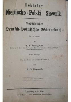 Dokładny Niemiecko- Polski Słownik, 1854 r.