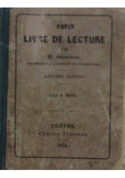 Le Livre de Lecture, 1874r.