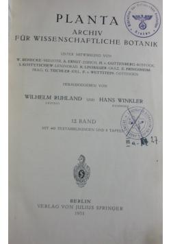 Planta Archiv fur Wissenschaftliche Botanik, 1931r.