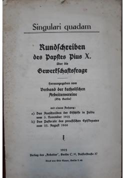 Kundlchreiben, 1912 r.