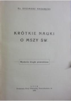Krótkie nauki o mszy św., 1933 r.