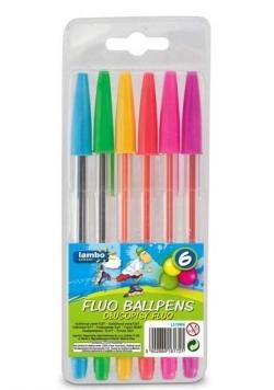 Długopisy fluorescencyjne 6 kolorów LAMBO