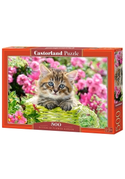 Puzzle Kitten In Flower Garden 500