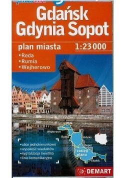 Gdańsk Gdynia Sopot Plastik plan miasta 1:23000