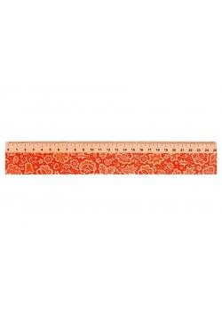 Linijka drewniana 25 cm kujawska czerwona FOLKSTAR