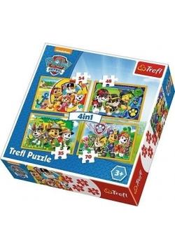 Puzzle 4w1 Zawsze na czas. Psi patrol TREFL