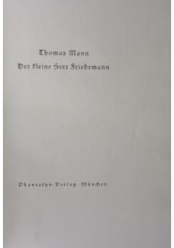 Der Kleine Herr Friedemann 1920r. + Autograf Mann
