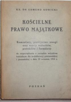 Kościelne prawo majątkowe, 1936 r.