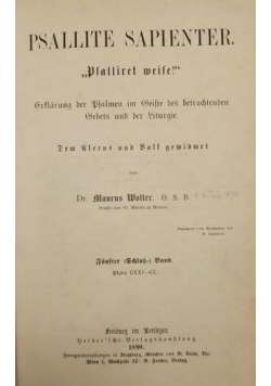 Psallite Sapienter, 1890 r.