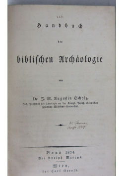 Biblichen archaologie, 1834 r.
