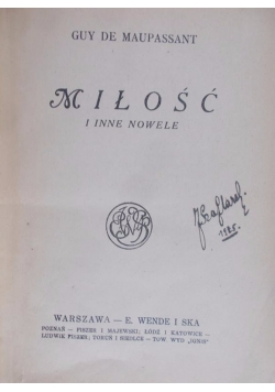 Miłość i inne nowele, ok. 1905r.