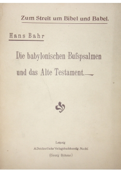 Die babylonischen Bufspsalmen, 1903 r.