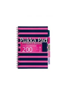 Project Book Navy A4/200 kratka róż (3szt) PUKKA