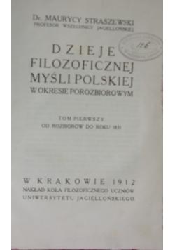 Dzieje Filozoficznej Myśli Polskiej ,1912r.
