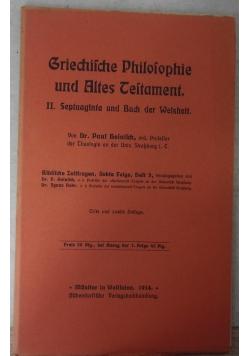Griechische Philosophie und Altes Testament, 1914 r.