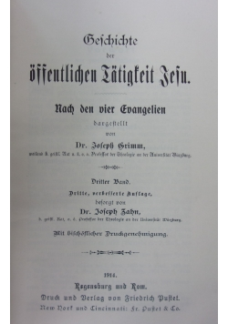 Geschichte der offentlichen Iatigsteit Jesu, 1914r.