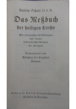 Das MeBbuch Der beiligen Rirche, 1938r.