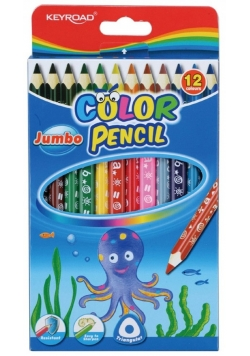 Kredki ołówkowe KEYROAD Jumbo trójkątne 12 kolorów