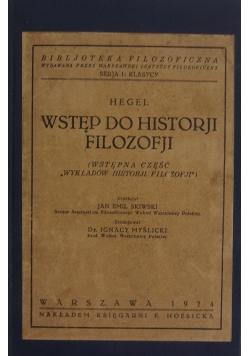 Wstęp do historji filozofji, 1924 r.