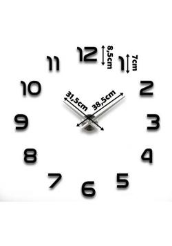 Duży nowoczesny zegar na ścianę czarne cyfry